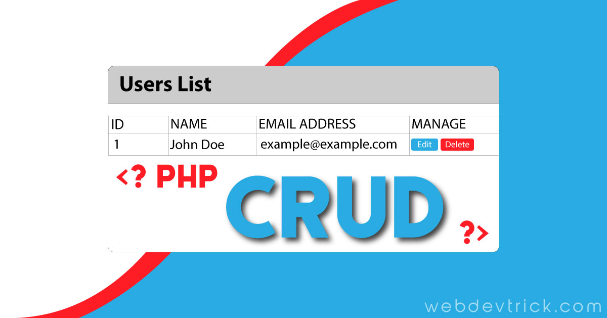 CRUD PHP MySQL Example and Source Code | With Ajax No Reloading