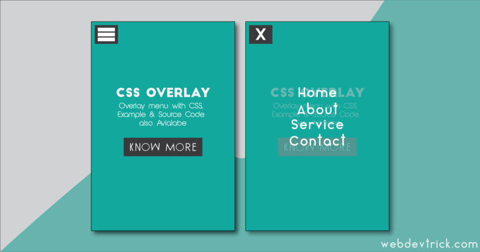 CSS Overlay Menu Example & Source Code | Web Dev Trick