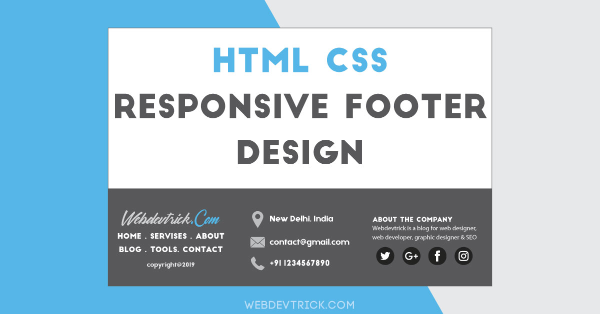 Html Css Footer With Responsive Design Fixed Bottom Footer
