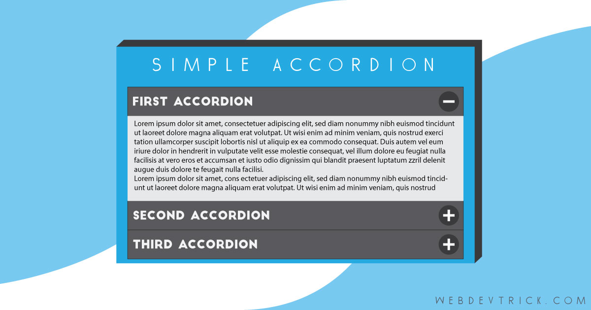 Simple Html Css And Javascript Accordion Example Source Code