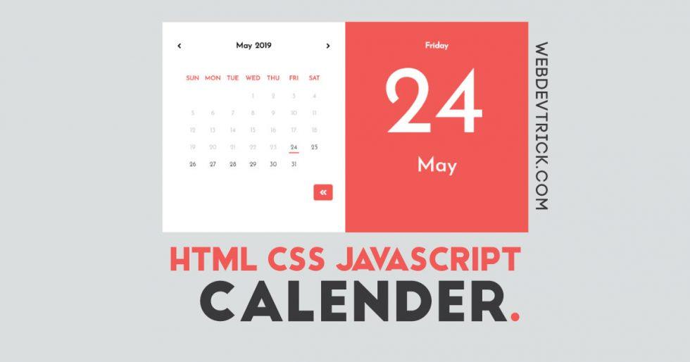 HTML CSS JavaScript Calendar | Animated JQuery Calendar