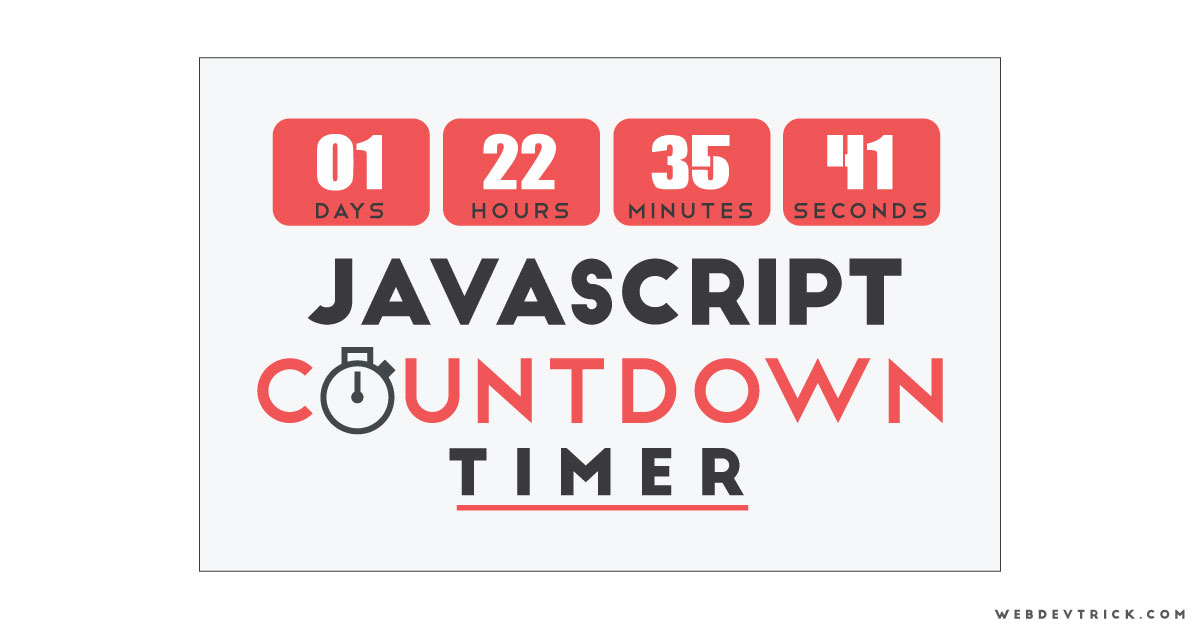 JavaScript Countdown Timer With CSS UI | Pure JS Countdown Clock