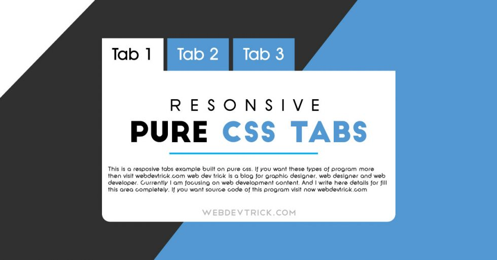 Pure CSS Tabs With Responsive Design | Example and Source Code